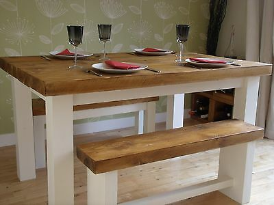 New solid wood dining table chunky rustic wooden plank 3 top made solid wood rustic chunky wooden plank kitchen dining table with benches watchthetrailerfo