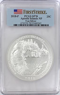 2018-P 5oz. Apostle Islands Park ATB Silver Quarter SP70 First Strike PCGS