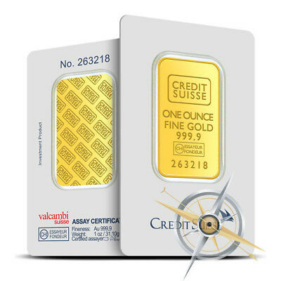 1 oz Credit Suisse .9999 Fine Gold Bar/Ingot - Sealed in Assay Card
