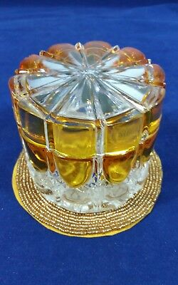 Vintage Signed Val St. Lambert Amber to Clear Round Covered Vanity Box with Lid