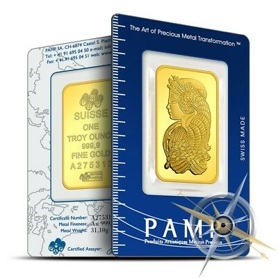 PAMP Suisse 1 oz .9999 Gold Lady Fortuna Design Bar/Ingot - Sealed in Assay Card