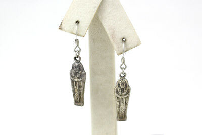 Unique Sterling Silver Egyptian Sarcophagus Dangle Earrings