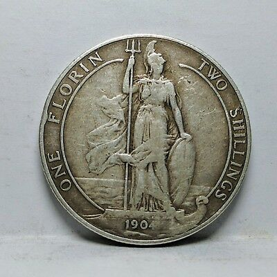 1904 UK Great Britain One Florin Two Shillings Silver Coin