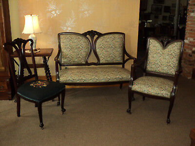 Antique French Style Loveseat and 2 Chairs w. Needle point Seat