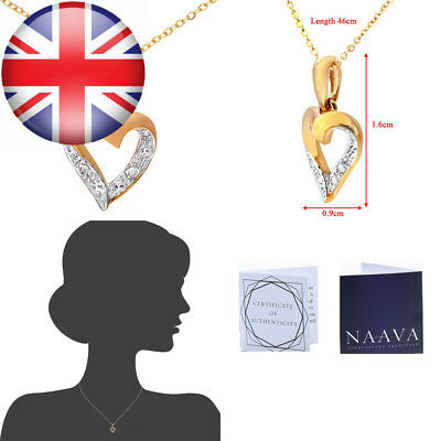 Naava Women's 9 ct Yellow Gold Diamond Heart Pendant and Chain Necklace of 46 cm
