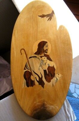 JESUS Inlaid Wood Picture The Good Shepherd with Lambs