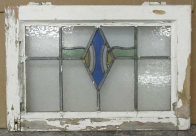 "OLD ENGLISH LEADED STAINED GLASS WINDOW Pretty Diamond Design 21.5"" x 14.5"""