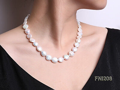 """Classic 15-16mm White Button Real Cultured Freshwater Pearl Necklace 18"""""""