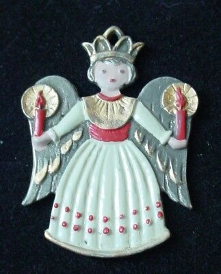 Kuhn Zinn Pewter ANGEL WITH CANDLES Xmas Ornament Hand Painted Enamel Germany