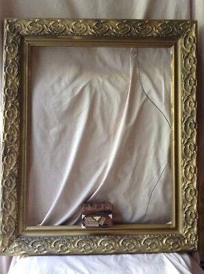 Antique Eastlake Victorian Craved Wood Gold Gilt Gesso Large Picture Frame 21X25