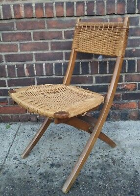 Vintage Mid Century Modern Rustic Wood Rope Folding Chair Danish Wegner Restore