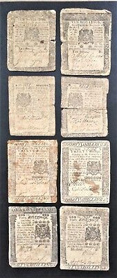 PENNSYLVANIA COMPLETE SET of 8 (A & B of EACH 10 20 30 40 Sh) LAST ISSUE of 1775