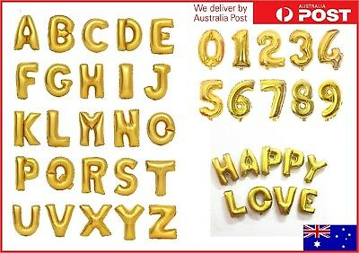 """16"""" Gold Foil Balloons Alphabet Letter Number Birthday Party Wedding 16 inch New"""
