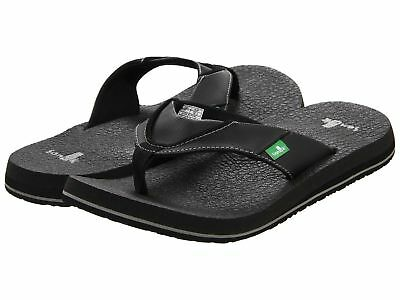 New Sanuk Men's Beer Cozy Flip Flop Mens Thongs Sandal Black