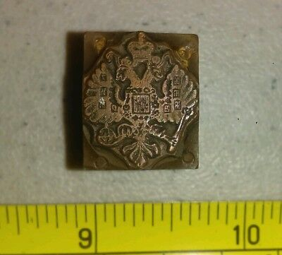 Vintage Letterpress Printing Block Double Headed Eagle & Crown Empire Symbol