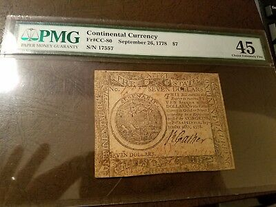 Continental Currency September 26, 1778 $7 PMG 45 Choice Extremely Fine