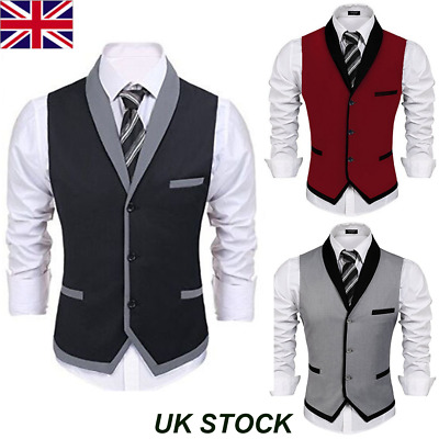 UK Mens Waistcoat Formal Business Suit Retro Vest Slim Wedding Casual Coat Tops
