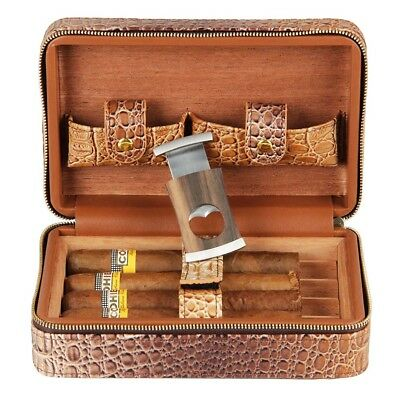CIGARISM Travel Humidor Crocodile Leather Embossed Cigar Case Cutter Set