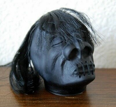 "Classic Black 3"" Shrunken Head Rear View Hot Rod Mirror Hanger"