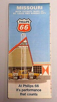 Vintage 1971 PHILLIPS 66 GAS STATION Fold-out Road Map MISSOURI