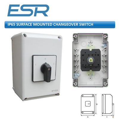 63A 100A 3P+N CHANGEOVER SWITCH IP65 PLASTIC WEATHERPROOF ENCLOSURE On/Off 2pos