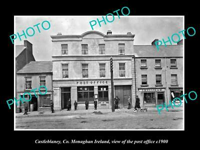 OLD LARGE HISTORIC PHOTO OF CASTLEBLANEY MONAGHAN IRELAND, THE POST OFFICE c1900