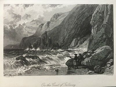 1847 Antique Print; Coast of Galloway, Scott's 'Guy Mannering' after Stanfield