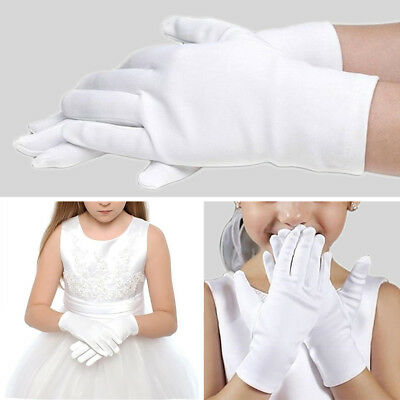 5 Pairs Kid Gloves White Short Satin Feel Boy Girl Hold Flower Performance Dance