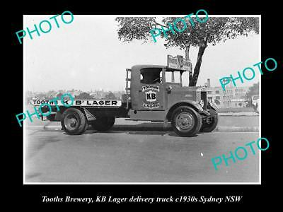 OLD LARGE HISTORIC PHOTO OF TOOTHS BREWERY, KB LARGER DELIVERY TRUCK c1930s NSW