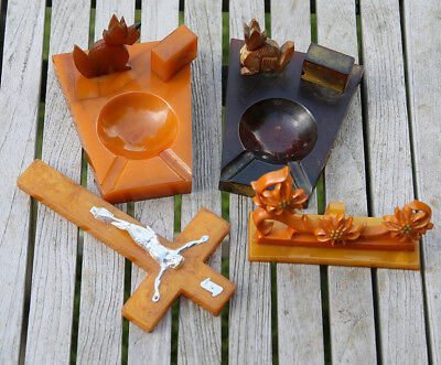 Antique Vintage Bakelite Catalin Marble Ashtrays and Others 632 grams