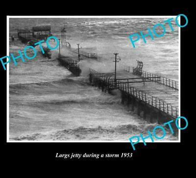 OLD LARGE HISTORICAL PHOTO OF LARGS BAY S.A, STORM AT JETTY c1953