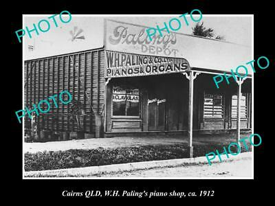 OLD LARGE HISTORIC PHOTO OF CAIRNS QUEENSLAND, PALINGS PIANO STORE c1912