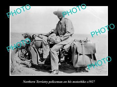 Old Large Historic Photo Of Northern Territory Police Man On His Motorbike 1927