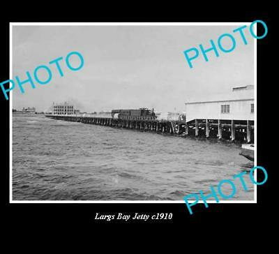 OLD LARGE HISTORICAL PHOTO OF LARGS BAY S.A, OLD JETTY c1910