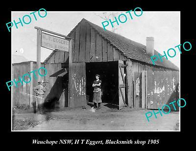 OLD LARGE HISTORIC PHOTO OF WAUCHOPE NSW, VIEW OF EGGERT BLACKSMITHS SHOP c1905