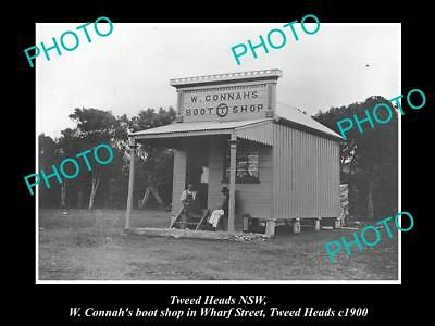 OLD LARGE HISTORIC PHOTO OF TWEED HEADS NSW, CONNAHS BOOT SHOP, WHARF St c1900
