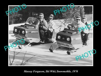 OLD LARGE HISTORIC PHOTO OF MASSEY FERGUSON SKI WHIZ SNOWMOBILE c1970s