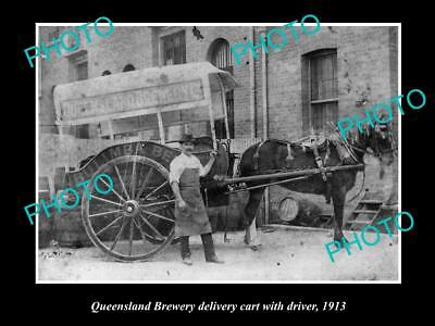 OLD LARGE HISTORIC PHOTO OF QUEENSLAND BREWERY DELIVERY CART, BULIMBA BEER c1913