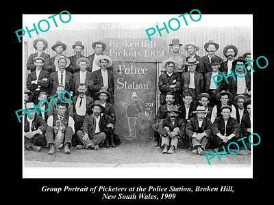OLD LARGE HISTORICAL PHOTO OF BROKEN HILL MINERS STRIKE POLICE STATION c1909