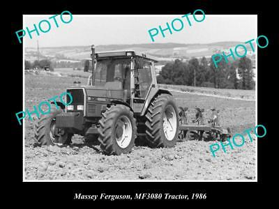 OLD LARGE HISTORIC PHOTO OF MASSEY FERGUSON MF3080 TRACTOR c1986