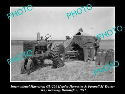 Old Historic Photo Of International Harvester Gl-200 Header, Farmall M Tractor