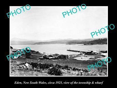 OLD LARGE HISTORIC PHOTO OF EDEN NSW, VIEW OF TOWNSHIP & WHARF c1925