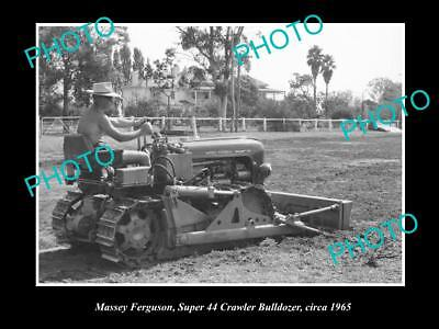 OLD LARGE HISTORIC PHOTO OF MASSEY FERGUSON SUPER 34 CRAWLER BULLDOZER c1965