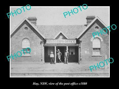 OLD LARGE HISTORIC PHOTO OF HAY NSW, THE OLD POST OFFICE BUILDING c1880