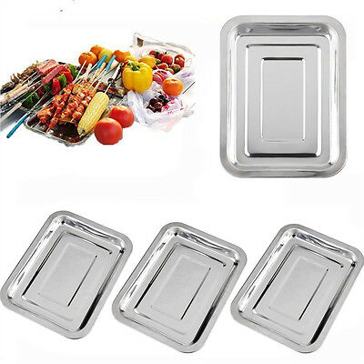 Stainless Steel Serving Trays Large Baking Roast Meat Food Cook BBQ Plate Safe