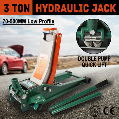 3Ton Low Profile Hydraulic Car Trolley Jack 3000kg 3T Double Pump Quick Lift NEW