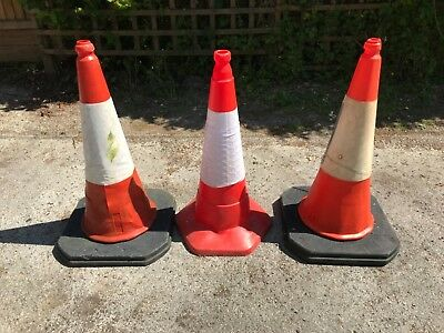 3 large weighted red traffic cones with reflective covers