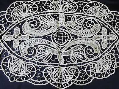Beautiful Vintage Handmade Cotton Crochet Ecru Oval Tablecloth