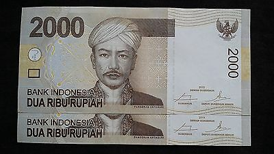 INDONESIA 2000 Rupiah 2015 x 2  P148f? - run of 2 UNC Banknotes