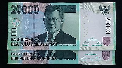 INDONESIA 20000 Rupiah 2014 x 2 P151d - run of 2 UNC Banknotes